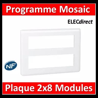 Legrand Mosaic - Plaque 2 x 8 modules - Blanc - 078837