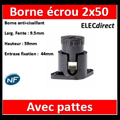 Legrand - Borne écrou 6 pans avec pattes 2 x 50 mm2 - 034044