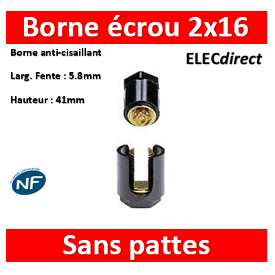 Legrand - Borne écrou 6 pans sans pattes 2 x 16 mm2 - 034032