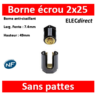 Legrand - Borne écrou 6 pans sans pattes 2 x 25 mm2 - 034033