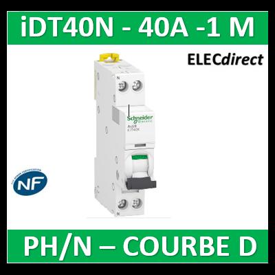 Schneider - Acti9 iDT40N - disjoncteur modulaire - 1P+N D 40A 6000A/10kA - A9P34640