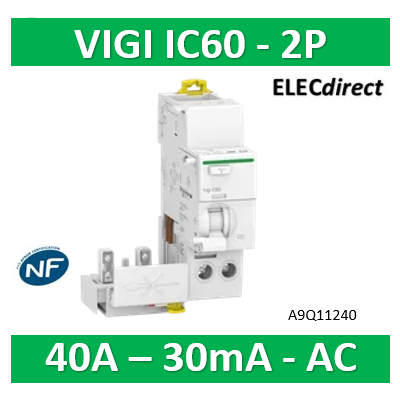 Schneider - Acti9 Vigi iC60, bloc différentiel 2P 40A 30mA type AC 230-240V 400-415V - A9Q11240