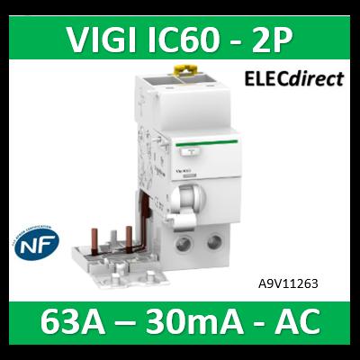 Schneider -  Acti9 Vigi iC60 2P 63A 30mA type AC 230-240V 400-415V - A9V11263