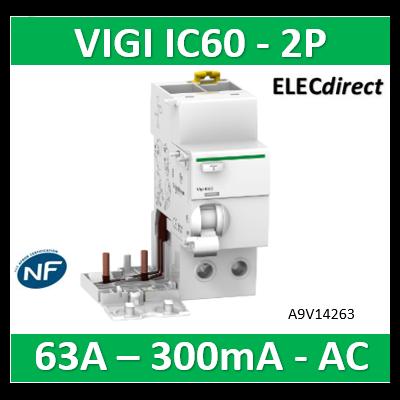 Schneider -  Acti9 Vigi iC60 2P 63A 300mA type AC 230-240V 400-415V - A9V14263