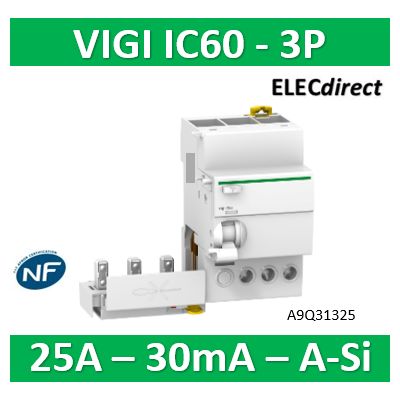 Schneider - Acti9, Vigi iC60, bloc différentiel 3P 25A 30mA type A Si 230-240/400-415V - A9Q31325