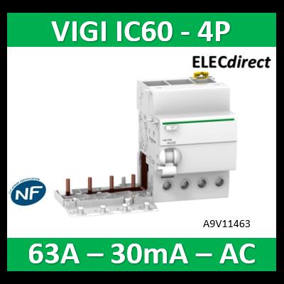 Schneider - Acti9 Vigi iC60 4P 63A 30mA type AC 230-240V 400-415V - A9V11463