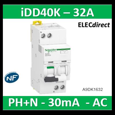 Acti9 iDD40K - disjoncteur différentiel - 1P+N C 32A 4500A/4,5A 30mA type AC - A9DK1632