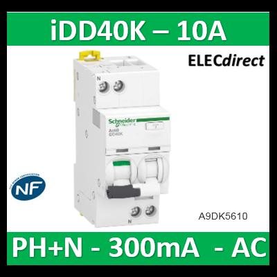 Acti9 iDD40K - disjoncteur différentiel - 1P+N C 10A 4500A/4,5A 300mA type AC - A9DK5610