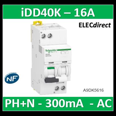 Acti9 iDD40K - disjoncteur différentiel - 1P+N C 16A 4500A/4,5A 300mA type AC - A9DK5616