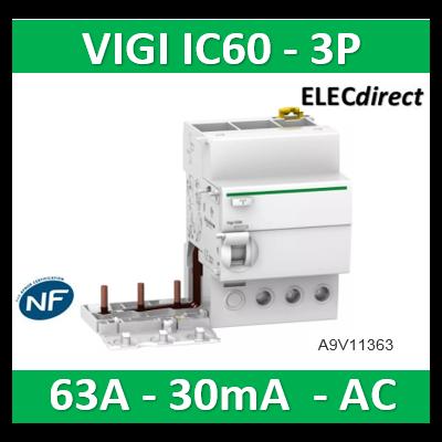 Schneider - Acti9 Vigi iC60 3P 63A 30mA type AC 230-240V 400-415V - A9V11363