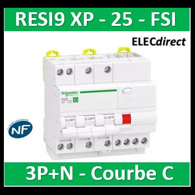 Schneider - Resi9 XP - disjoncteur différentiel - 3P+N - 25A - 30mA - courbe C - type Asi - R9PDCS25