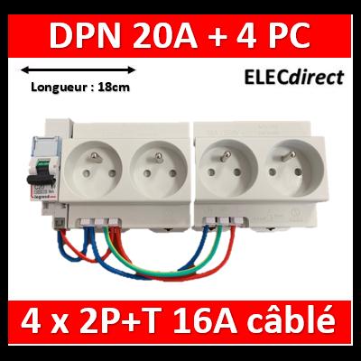 Legrand - LOT PROS - 4xPC 2P+T Modulaire précâblé DIGITAL + disjoncteur 20A - 04564x2 + 406784