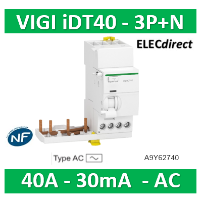 Schneider - Acti9 iDT40 - module différentiel Vigi - départ iDT40 - 3P+N 40A 30mA type AC - A9Y62740
