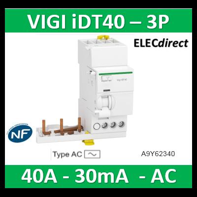 Acti9 iDT40 - module différentiel Vigi - départ iDT40 - 3P 40A 30mA type AC - A9Y62340