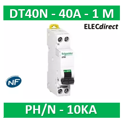 SCHNEIDER - Disjoncteur Ph/N 40A DT40N - 10KA - SCHA9N21370