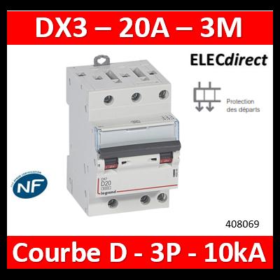 Legrand Disjoncteur DX³6000 10kA arrivée haute et départ bas à vis 3P 400~ - 20A - courbe D - pour peigne HX³ optimisé 408069
