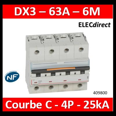 Legrand - Disjoncteur dx³-vis/vis-4p-400v~-63a-25ka-courbe c-protect départ - 409800
