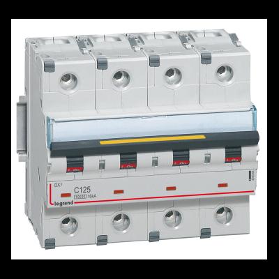 Legrand - Disjoncteur DX³10000 16kA arrivée haute et départ bas à vis 4P - 400V~ - 125A - courbe C - 6 modules - 409364