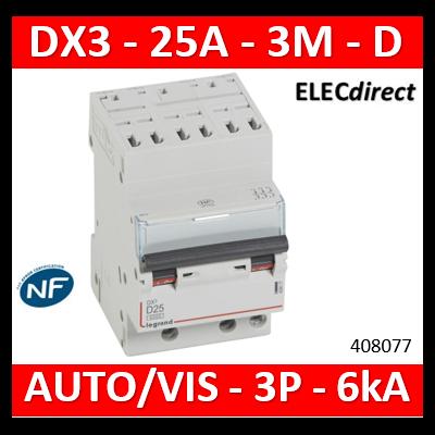 Legrand Disjoncteur DX³6000 10kA arrivée haute auto départ bas à vis 3P 400V~ - 25A - courbe D - pour peigne HX³ optimisé 408077