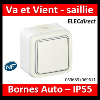 Legrand Plexo - Va et Vient Saillie Blanc 10A 230V - IP55/IK07 - 069689+069611