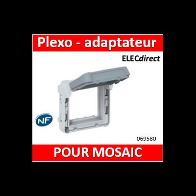Legrand Plexo -Adaptateur étanche opaque Plexo compo IP55 pour Mosaic 2 modules - gris et blanc - 069580