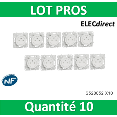 Schneider Electric - Prise 2P+T affleurante blanc - S520052 x 10
