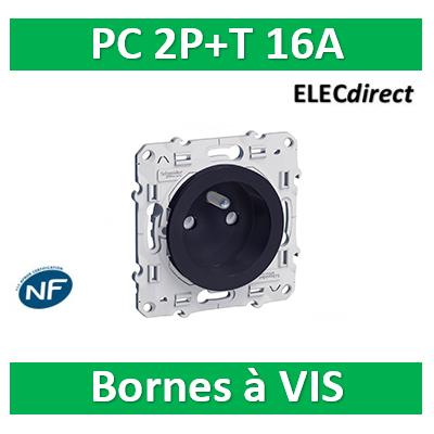 Schneider Odace - Prise de courant connexion à VIS ANTHRACITE - 2P+T 16A - 250V - S540039