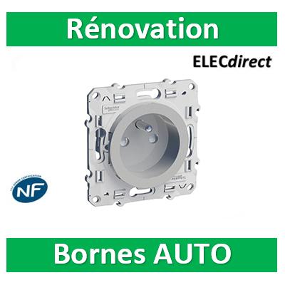 Schneider Odace - Prise de courant Rénovation ALU - 2P+T 16A - 250V - S530049