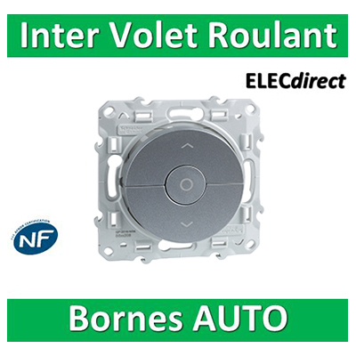 Schneider Odace - Interrupteur volets-roulant montée/descente/stop ALU - S530208