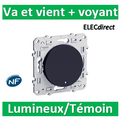 Schneider Odace - Va-et-Vient lumineux/Témoin LED orange ANTHRACITE - 10A - 250V - s540263