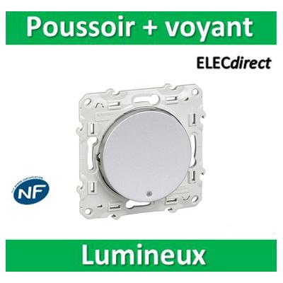 Schneider Odace - Bouton poussoir lumineux LED bleu ALU - 10A - 250V - s530276