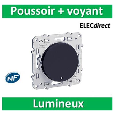 Schneider Odace - Bouton poussoir lumineux LED bleu ANTHRACITE - 10A - 250V - s540276