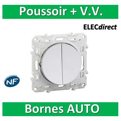 Schneider Odace - Va-et-vient + poussoir 10A ALU - 250V - s530285