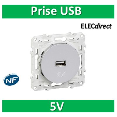 Schneider Odace - Prise USB 5V ALU- s530408