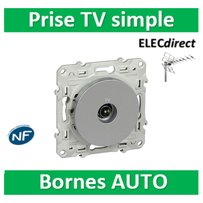 Schneider Odace - Prise TV simple ALU - S530445