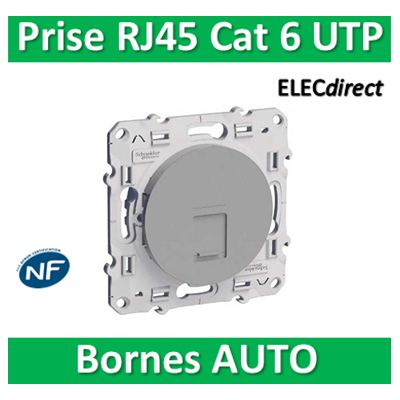 Schneider Odace - Prise RJ45 Cat.6 UTP ALU - s530475