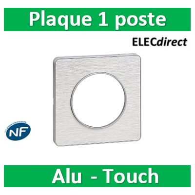 Schneider Odace - Plaque 1 poste - ALU Brossé Touch- s530802J