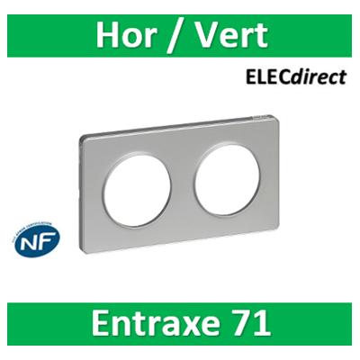 Schneider Odace - Plaque 2 postes entraxe 71 mm - Hor/vert - ALU Touch - s530804