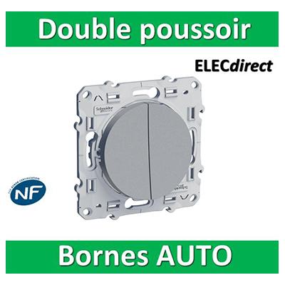 Schneider Odace - Double Poussoir 10A ALU - 250V - s530216