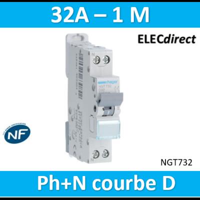 HAGER - Disjoncteur 1P+N 6-10kA courbe D - 32A 1 module - NGT732