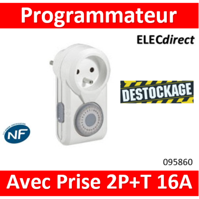 Programmateur ménager journalier avec fiche 2P+T et socle 2P+T 16A - 095860