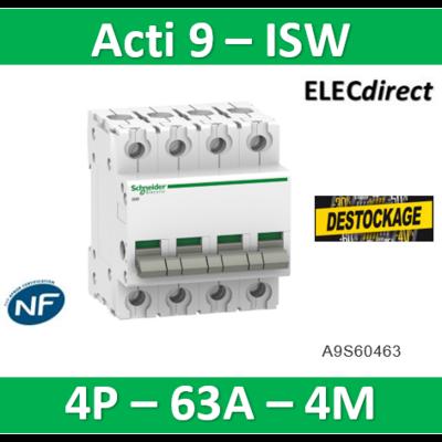 Schneider - Acti9, iSW interrupteur-sectionneur 4P 63A 415VAC - A9S60463