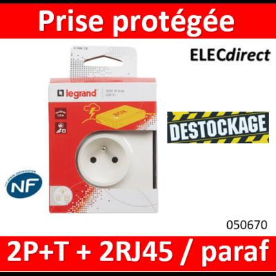 Prise protégée 2P+T + 2 prises RJ45 avec parafoudre - 050670