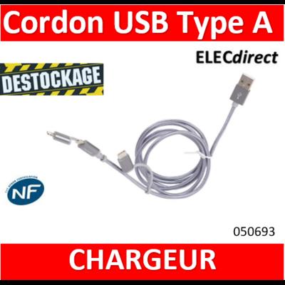 LEGRAND - Cordon USB Type-A vers micro USB , USB C et Lightning - 050693