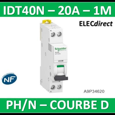 Schneider - Acti9 iDT40N - disjoncteur modulaire - 1P+N D 20A 6000A/10kA - A9P34620