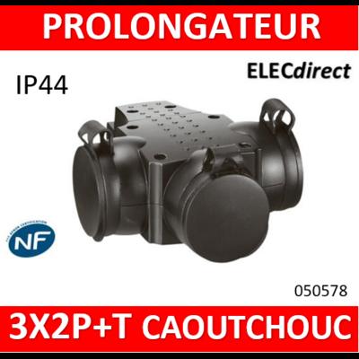 Legrand - Prolongateur caoutchouc 3 prises de courant 2P+T 16A IP44 IK08 avec anneau de suspension - 050578