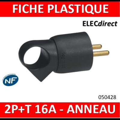 Legrand - Fiche plastique 2P+T 16A à anneau - noir - 050428