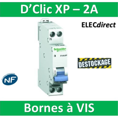SCHNEIDER DISJONCTEUR DUOLINE D'CLIC XP - 2A - VIS/VIS - 20724