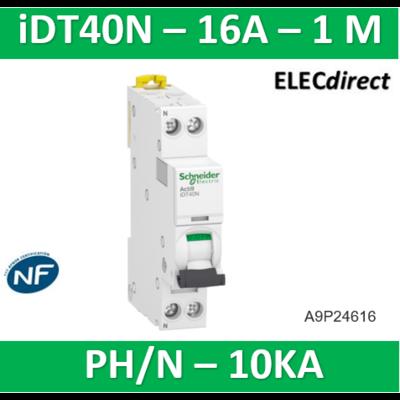 Schneider Acti9 iDT40N - disjoncteur modulaire - 1P+N C 16A 6000A/10kA A9P24616