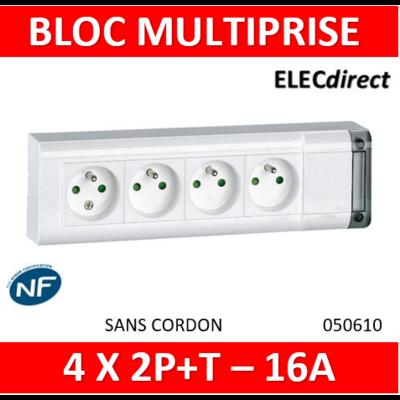 Legrand - Bloc multiprise fixable 4 prises de courant 2P+T longueur 253mm - à cabler - 050610